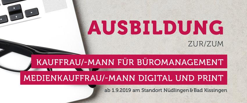 Ausbildung zur/zum Kauffrau/-mann für Büromanagement und Medienkauffrau/-mann digital und print.