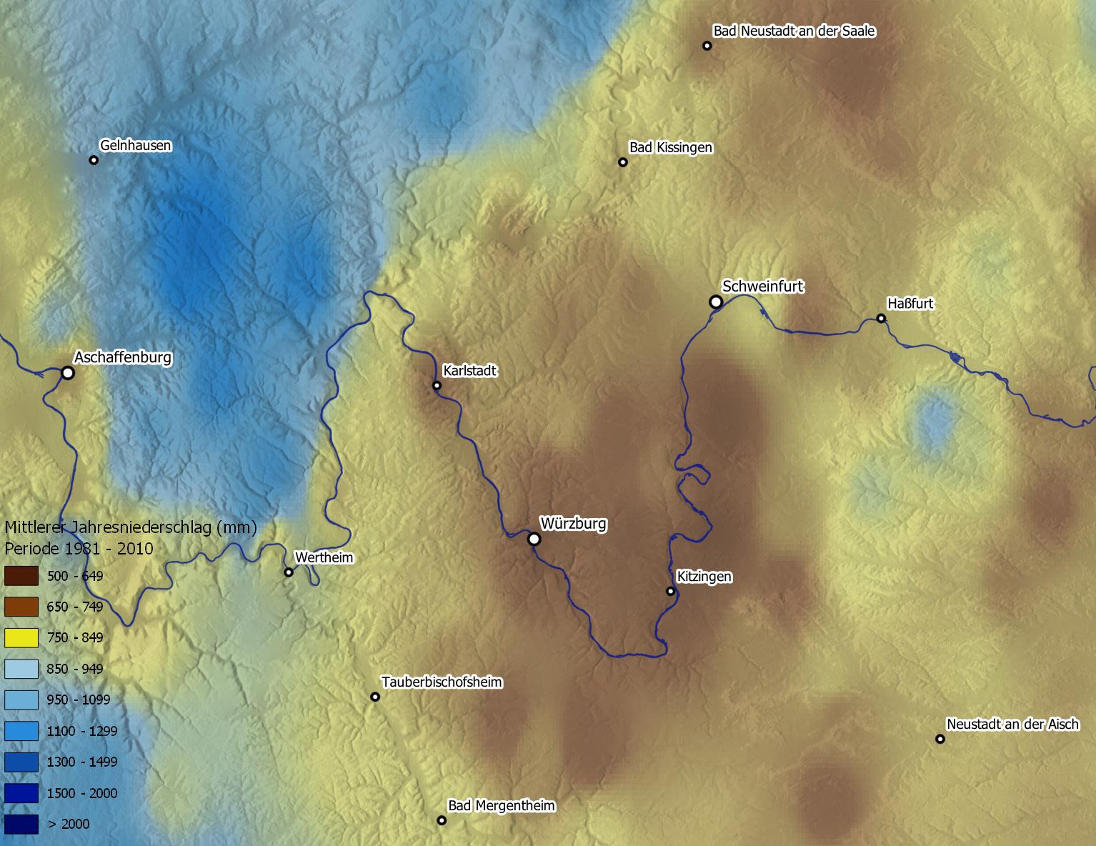 Fränkische Trockenplatte Visualisierung und Interpolation