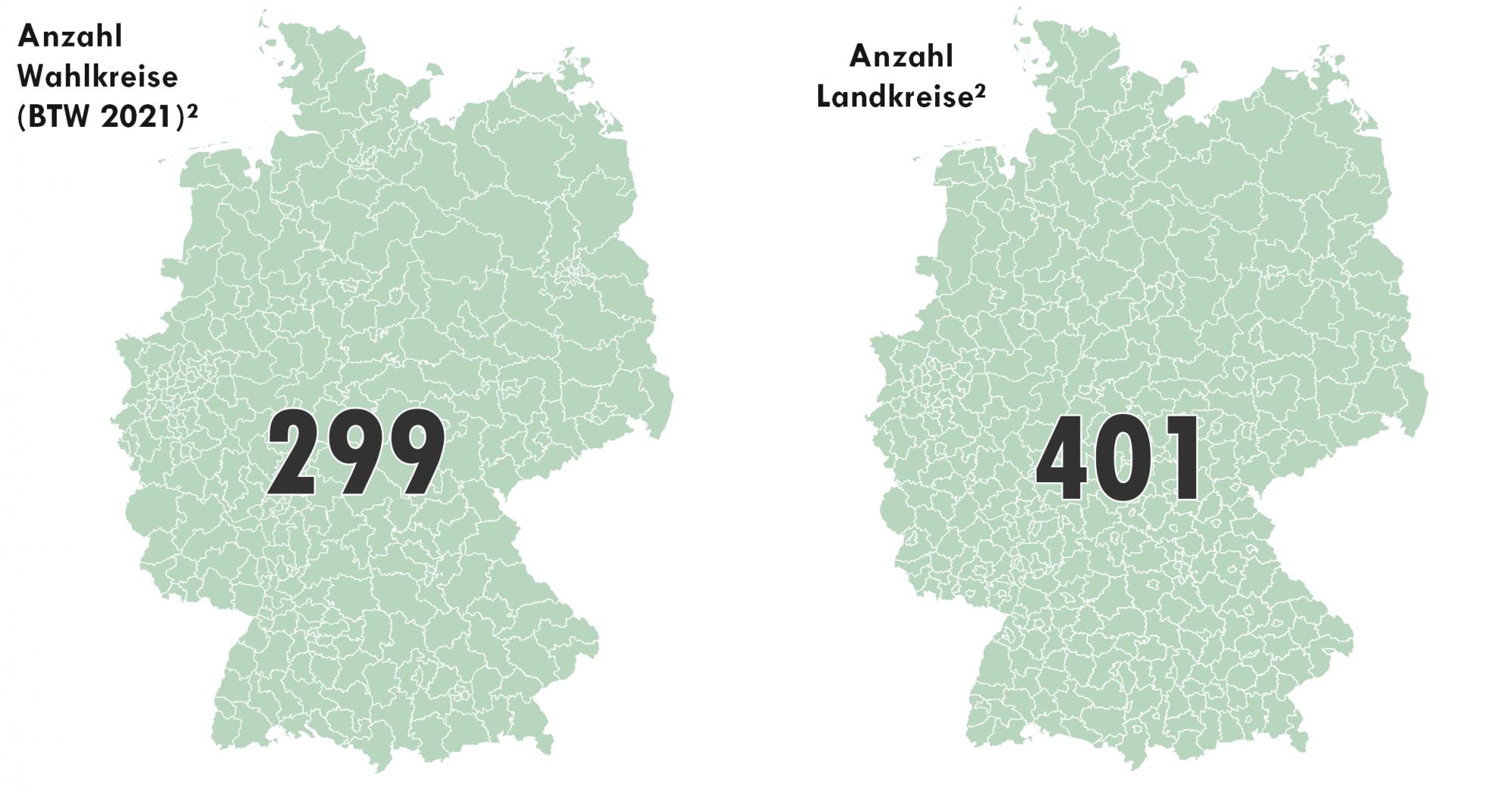 Vergleich Anzahl Wahlkreise für die Bundestagswahl 2021 mit den Landkreisen