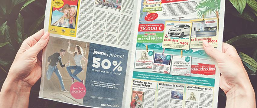 Jeanswerbung fühlt sich wohl in Anzeigenblättern und Wochenblättern #Mode