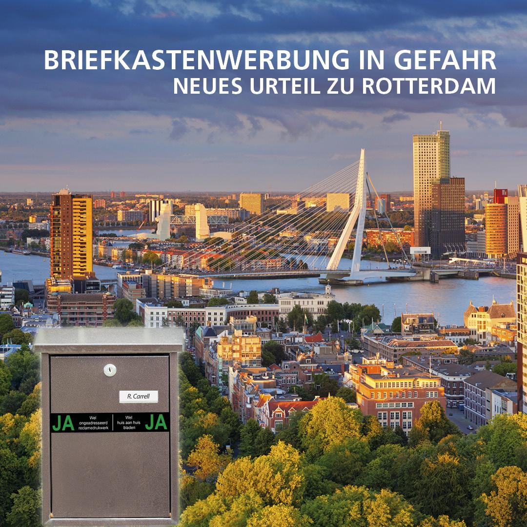 Verbot von unadressierter Briefkastenwerbung in Rotterdam - Holland.